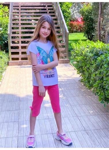 Hilal Akıncı Kids Kiz Çocuk Baskili Tışört Renklı Full Lıkrali Kot Tayt Ikılı Takim Pembe